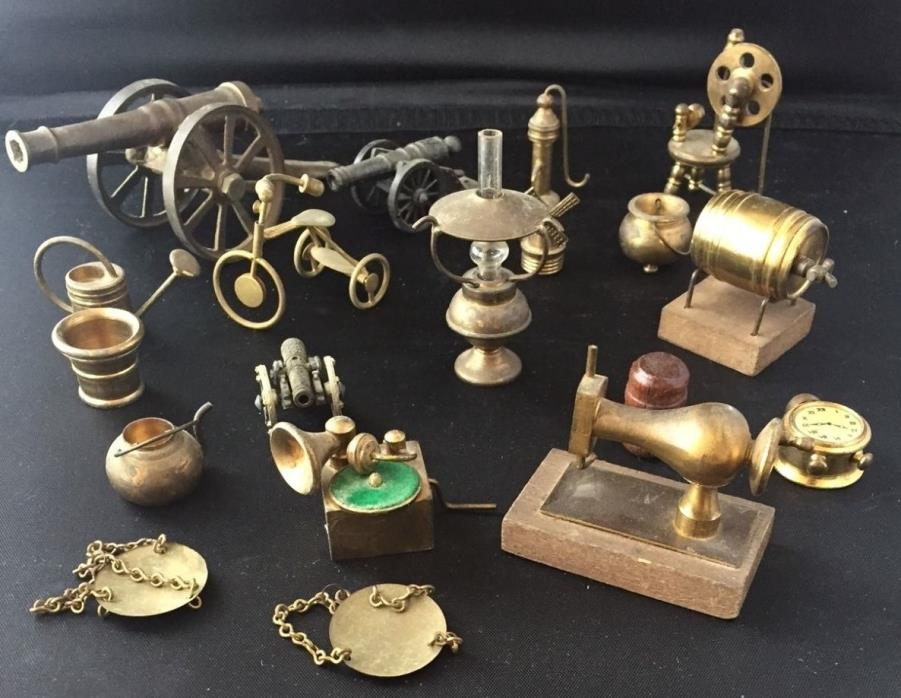 Big Lot 20 SOLID BRASS Hand Crafted MINIATURES-Beer Keg-Cannons-Trike FOLK ART