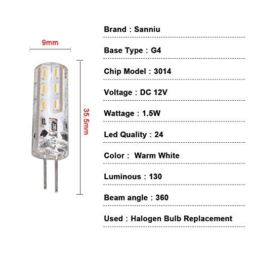 Sanniu G4 Led Bulb DC 12V 3014 SMD 24 Led Dimmable 1.5W For Halogen Replacement