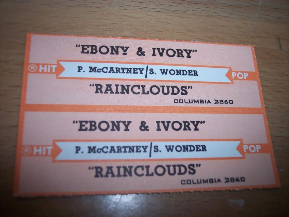2 Paul McCartney S. Wonder Ebony & Ivory Jukebox Title Strip CD 7