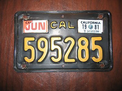 1963 California Motorcycle License Plate Yellow on Black
