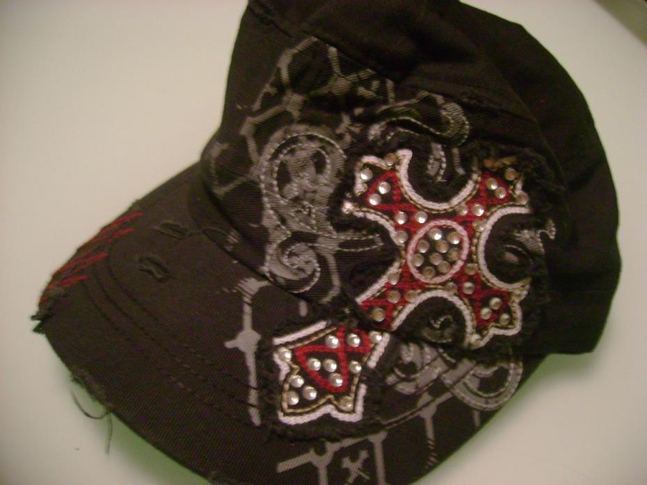 BKE fWomen's CAP, HAT--Black with Cross Design--Free Ship