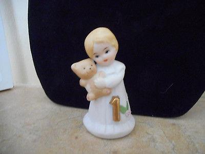 Growing up Birthday Girls by Enesco Blonde Age 1 Figurine 2 3/4