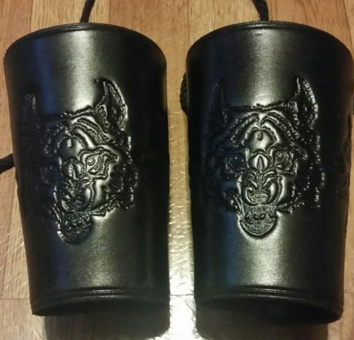 REAL LEATHER Wolf Medium Large Arm Wrist Bracers