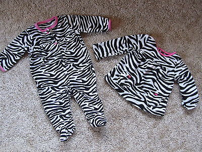 CARTERS 6 MO SLEEP PLAY FOOTIE OUTFIT & 18 MO OVER SWEATER *EXC COND