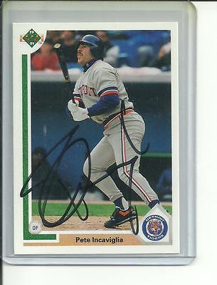 1991 Upper Deck Pete Incaviglia Autograph Detroit Tigers