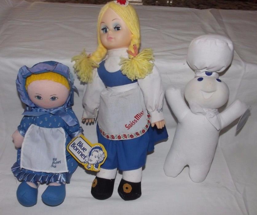 (Group of 3) Fabric Dolls (Blue Bonnet Sue, Swiss Miss, Pillsbury Dough Boy)