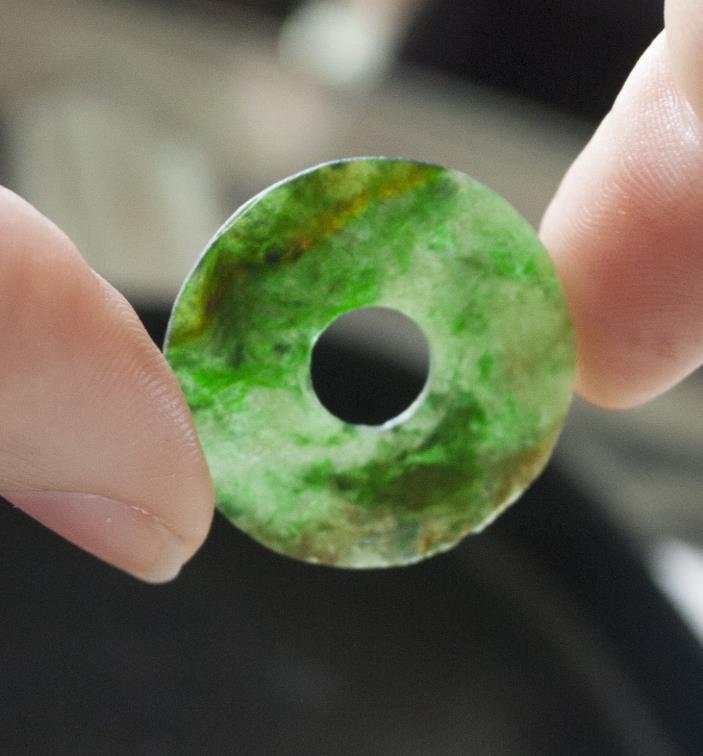 Authentic Antique Chinese Jadeite Bi Bright Green