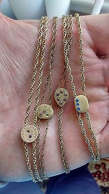 4 Vintage Pocket Watch 9K Gold Plated Chains With Slide 24 Long Each With Stones