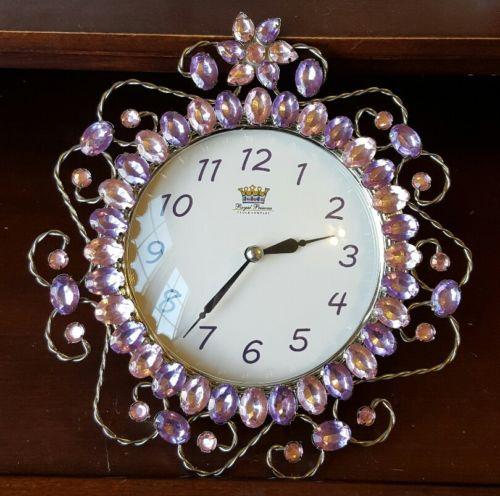 Royal Princess Clock Company Pink & Purlpe Jewelled Wall Clock Sterling & Noble