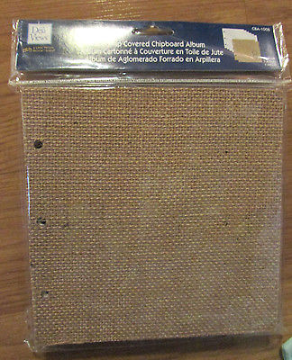 BURLAP COVERED CHIPBOARD BLANK 6x6 SCRAPBOOK ALBUM 12 Page Rings Photos