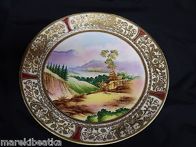 ANTIQUE NIPPON HAND PAINTED SCENIC CABINET PLATE, MORIAGE, JEWELED