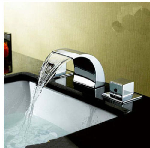 Chrome Brass Widespread Bathroom Basin Faucet Double Handles Vanity Sink Mixer