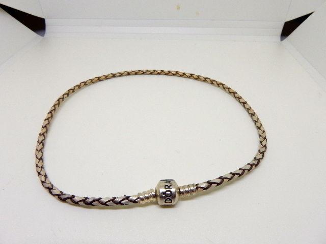 Authentic PANDORA Silver Double Leather Charm Bracelet Sterling Silver 13.5