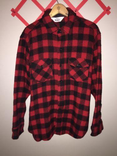 Vintage Woolrich Men's Plaid Lumberjack Wool Jacket Large Excellent Condition