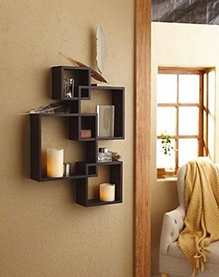 Shelving Hanging Shelves Solution Intersecting Decorative Espresso Color Wall of