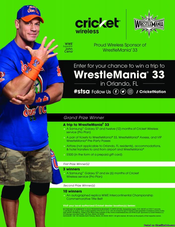 SWEEPSTAKES at Cricket Wireless! WIN a trip to WWE, and a Smart HDTV!!