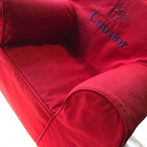 pottery barn kids my first anywhere chair slipcover, red 'Connor' monogram
