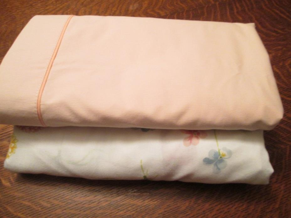 Queen Size Sheet Set w/NO Pillowcases/Top-Pink & Bottom-Floral