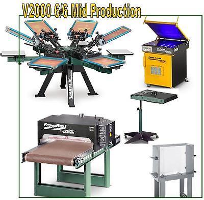 Vastex V-2000 Screen Printing Press 6 Station/ 6 Color Mid Production & Supply