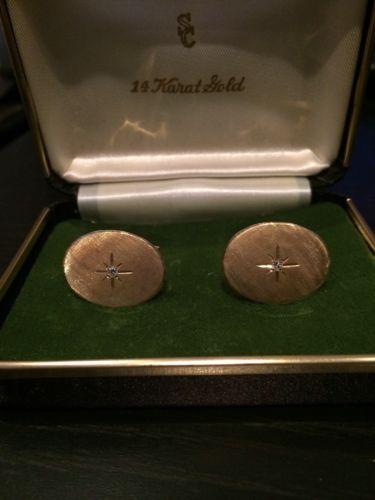 Vintage 14K Gold Mens Cufflinks With Diamond At Center Cuff Links Men