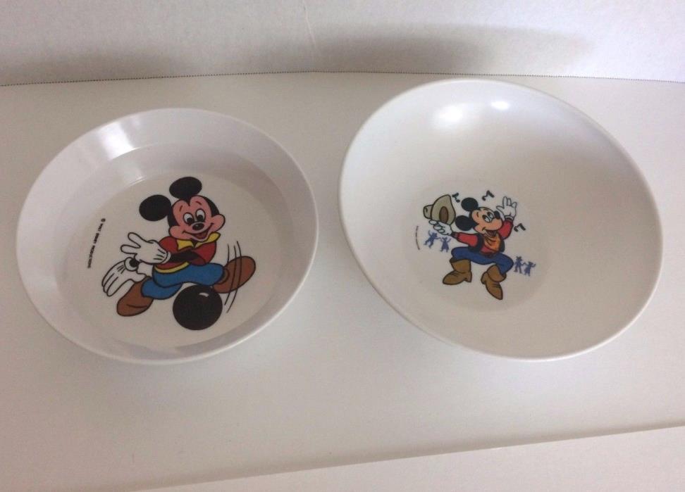 Vintage Disney Mickey Mouse Bowls Set 2 Plastic Cowboy Bowling Cereal Dessert