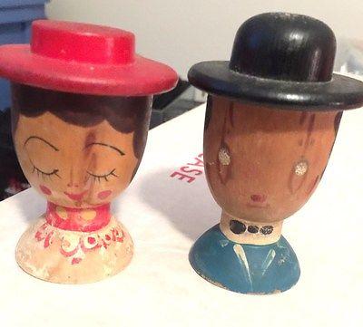 Vintage Wooden Salt & Pepper shakers Man & Woman