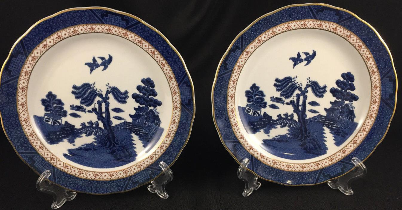 SET OF 2 ROYAL DOULTON REAL OLD WILLOW BREAD AND BUTTER PLATES MINT COND FREE SH