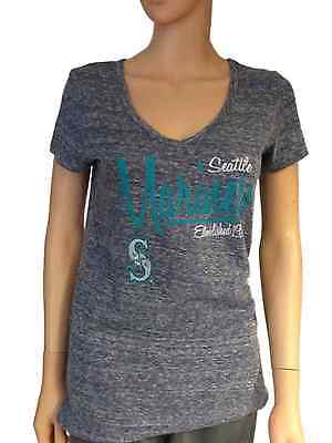 Seattle Mariners SAAG Women Navy Loose Soft Baseball V-Neck T-Shirt