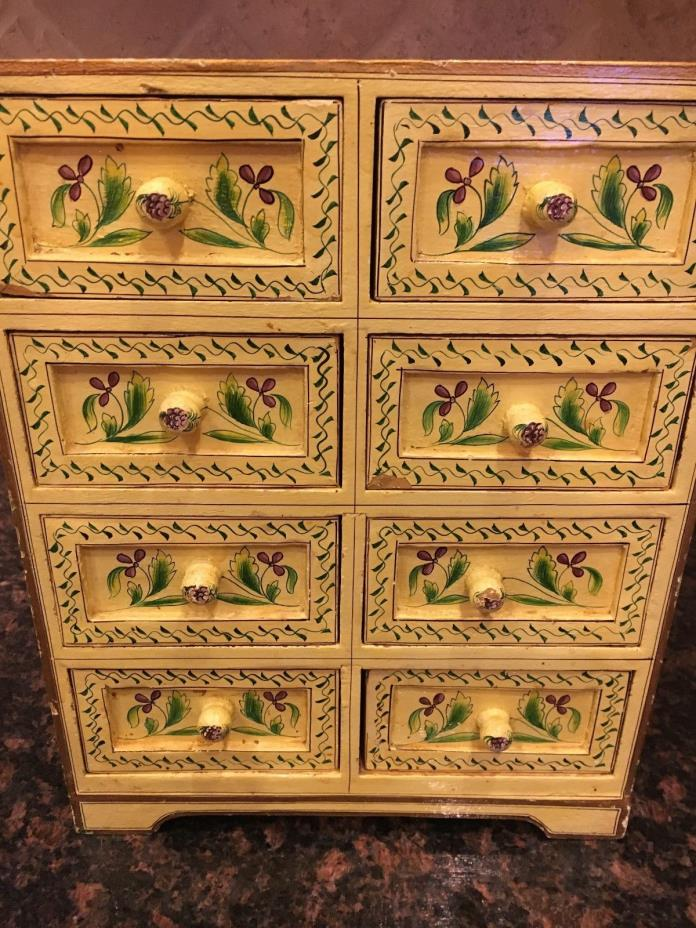 Vintage small yellow cabinet with drawers for knick knacks kitchen bath dresser