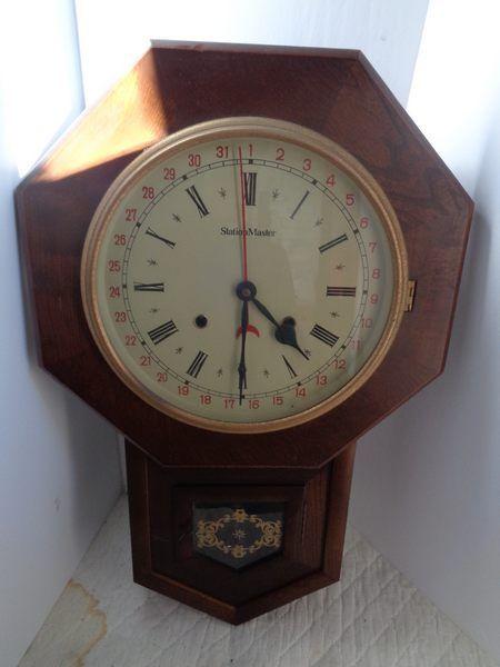 Vintage Stationmaster Calendar Wall Clock Walnut Case Japan