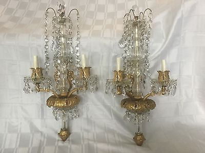 Antique Gilt Bronze Crystal Beaded French Chandelier Wall Sconces Pair 28