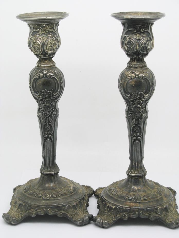2 ~ WM. ROGERS & SON SILVERPLATE CANDLE HOLDERS