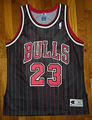 Authentic 1995 Champion Chicago Bulls Michael Jordan Black Pinstripe Jersey 44