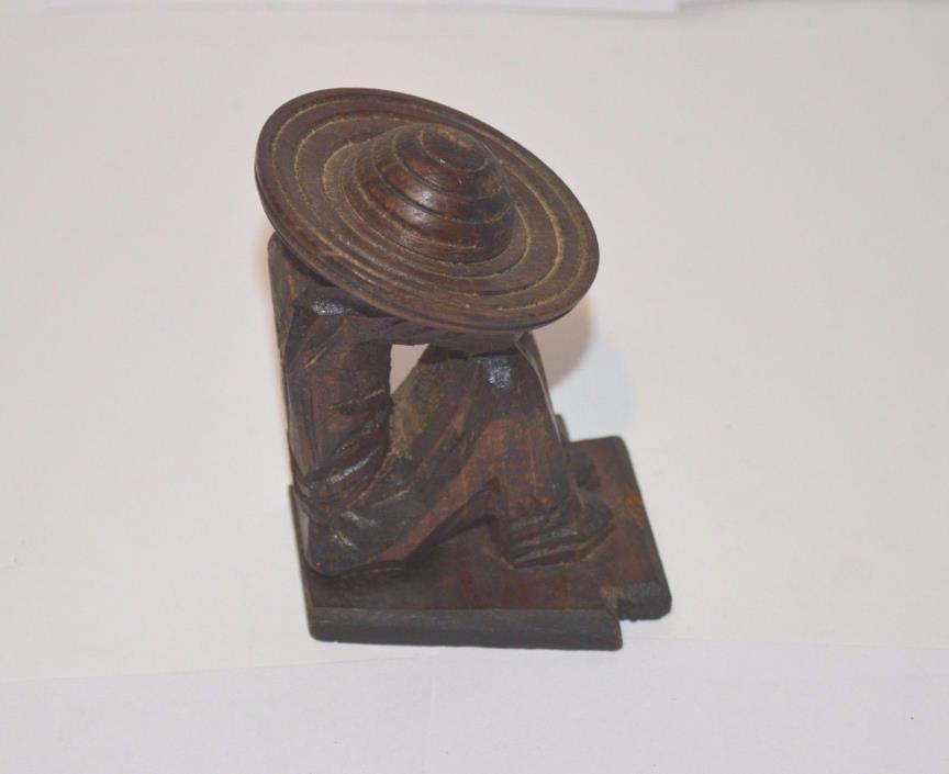 Vintage hand carved wood Sombrero Mexican Siesta folk art Latin sculpture statue