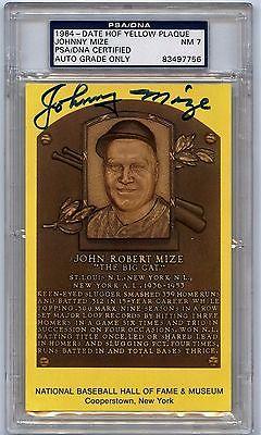 JOHNNY MIZE SIGNED 1964 HOF YELLOW PLAQUE PSA/DNA SGA AUTHENTICATED  NY GIANTS