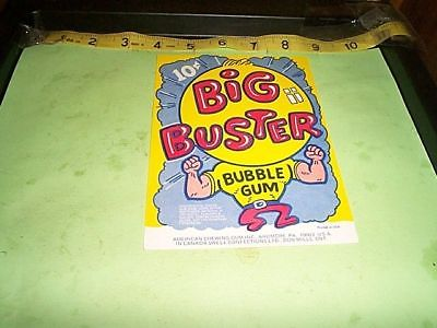 Vintage vending machine display Big Buster 10c bubble gum card FREE SHIPPING
