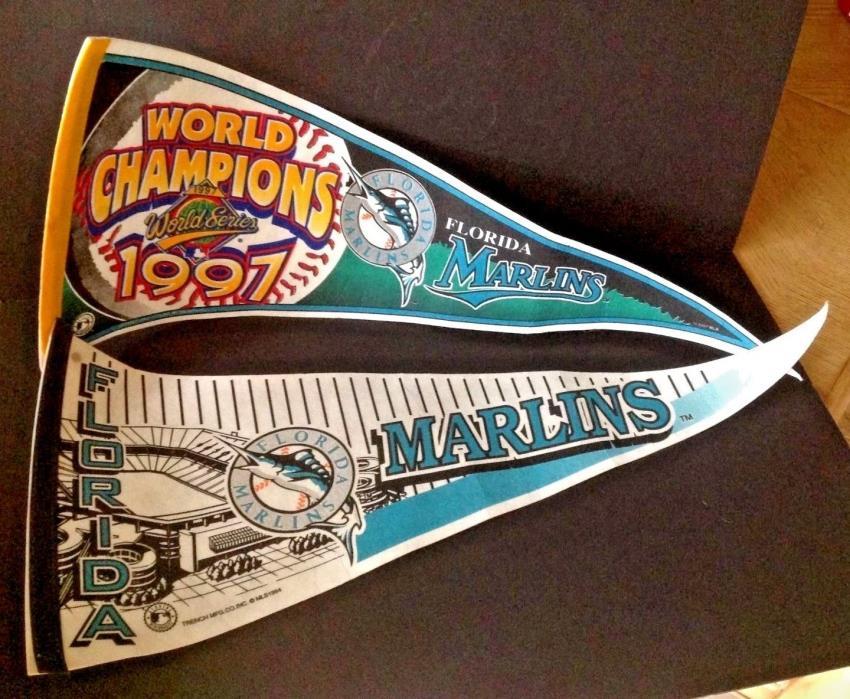 "Lot 2 Vtg Florida Marlins 1997 World Series Champions 30""W Pennants MLB Banners"