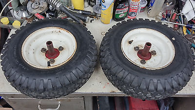 Two 4.80 x 8  Tires, Wheels & Axle Hubs