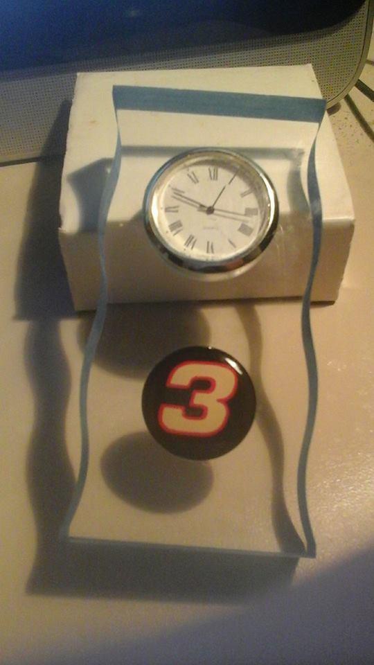 Dale Earnhardt #3 Clock Piece & Emblem Embedded In Clear Enamel Stand