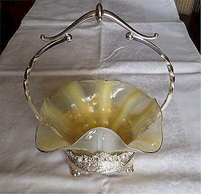 Vintage Vaseline Opalescent Brides Bowl In Silverplate Frame Bride Basket
