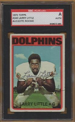 MIAMI DOLPHINS signed LARRY LITTLE - 1972 topps rookie - hof - AUTHENTICATED