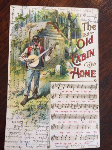 Early 1900 Black Man Playing Banjo Postcard