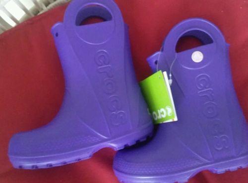 NWT! Crocs Handle it Rain Boots Purple girl's size 10