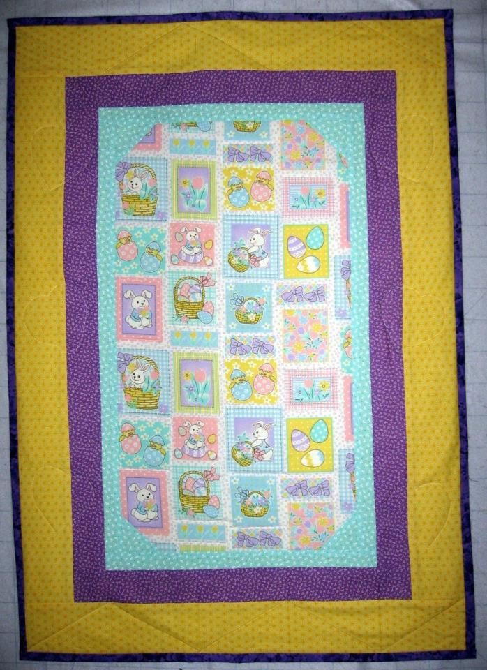 Baby Easter Bunny handcrafted quilt 28 1/2