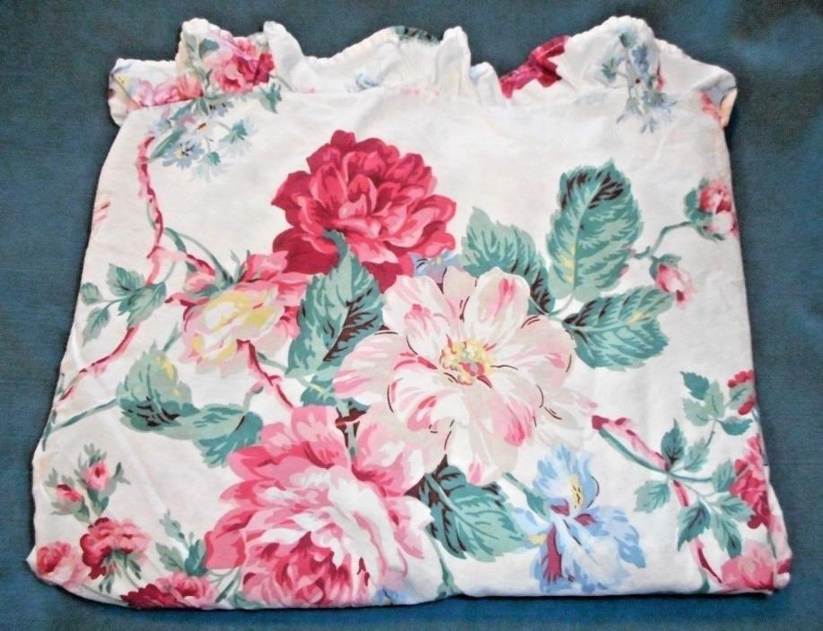 RALPH LAUREN Lorraine Floral Queen Flat Sheet French Country Parsonage Roses