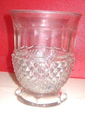 Vintage clear glass spooner, cup, kitchen tool holder, diamond design