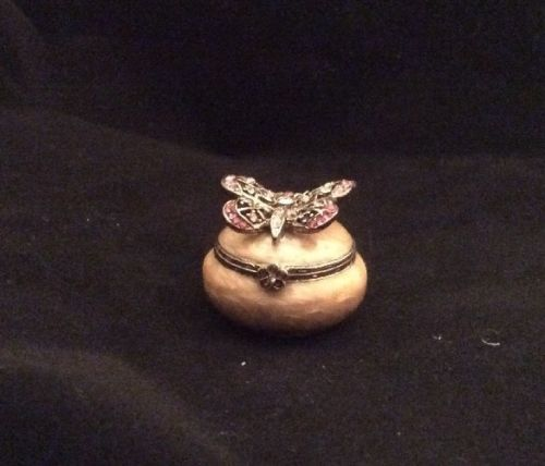 Jay Strongwater Pink Butterfly SWAROVSKI Tan TRINKET BOX