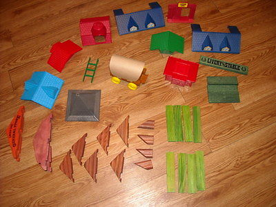 Lincoln Logs Misc Roofing Pieces~~Roofs-Peaks-Slats-Eyes--Covered Wagon-Ladder