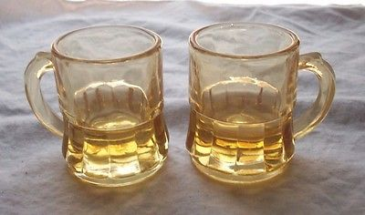 FEDERAL GLASS AMBER SHOT GLASSES OR TOOTHPICK HOLDERS