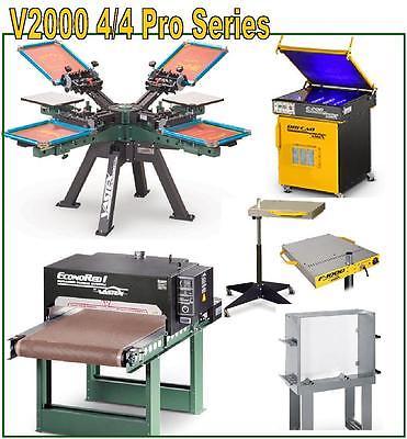 Vastex V-2000 Screen Printing Press 4 Station/ 4 Color Pro Shop & Supplies